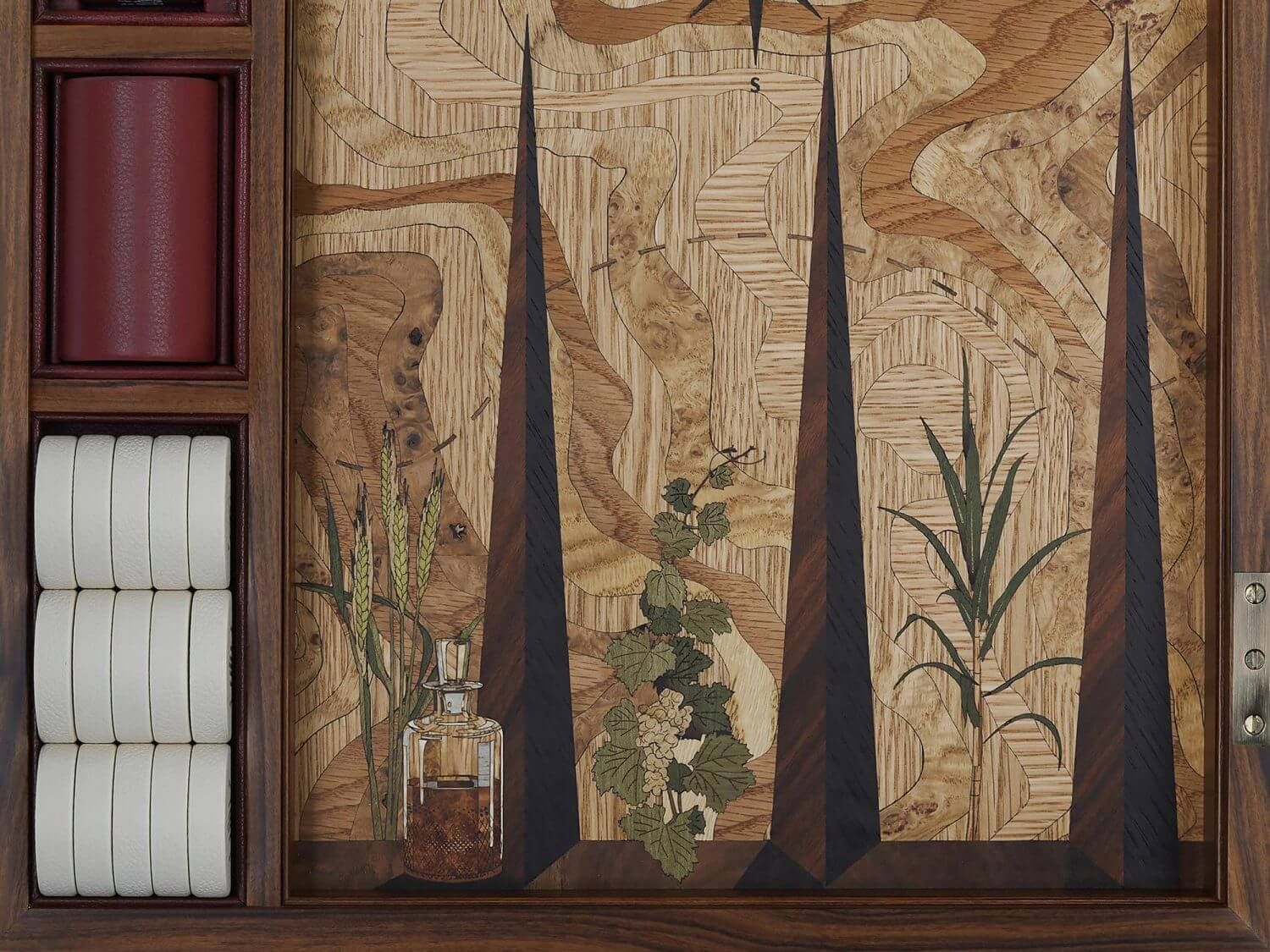 Marquetry backgammon board with whiskey bottle and exotic plant design