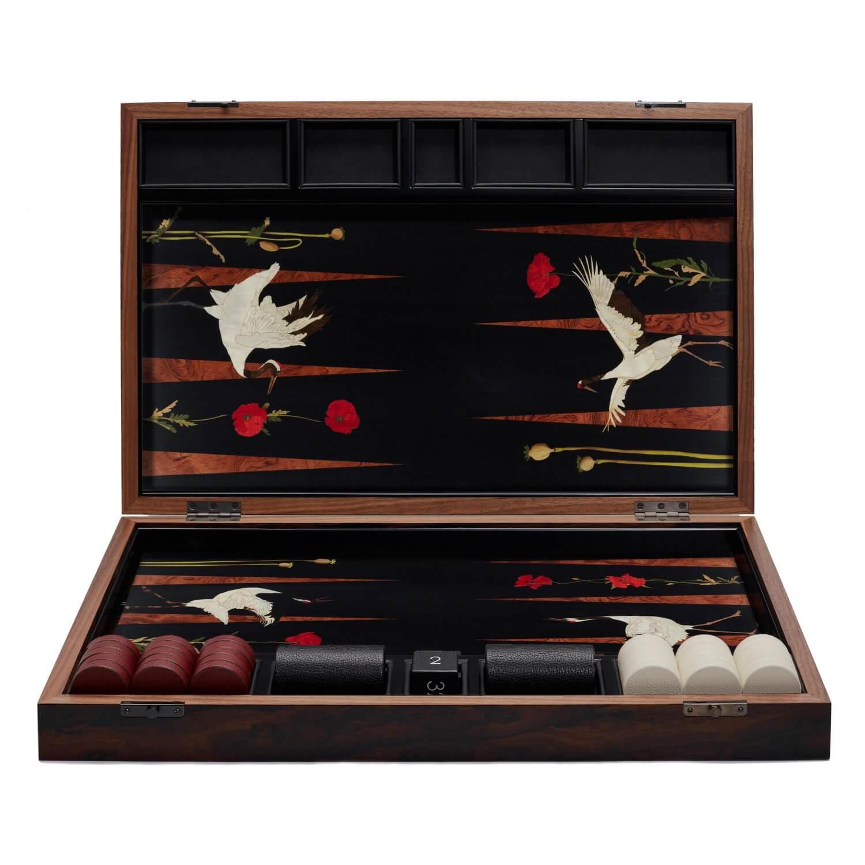 Alexandra Llewellyn Poppy and Crane Backgammon Set upright