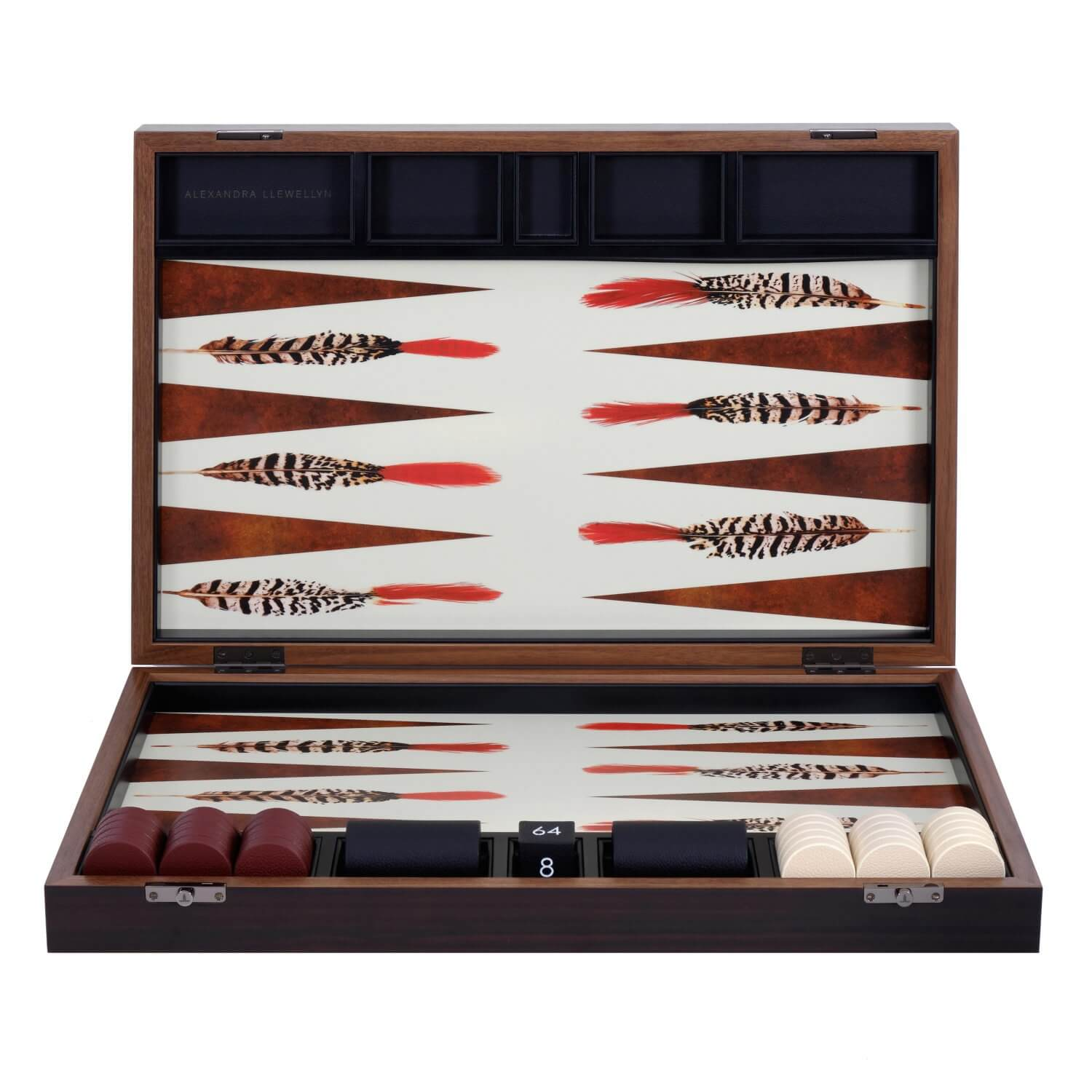 Black and White Feather backgammon set in a Fumed Eucalyptus box with red and cream playing pieces
