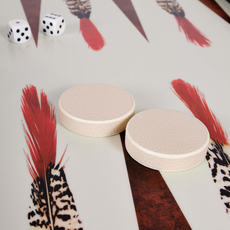 Alexandra Llewellyn B&W Feather Backgammon Set detail