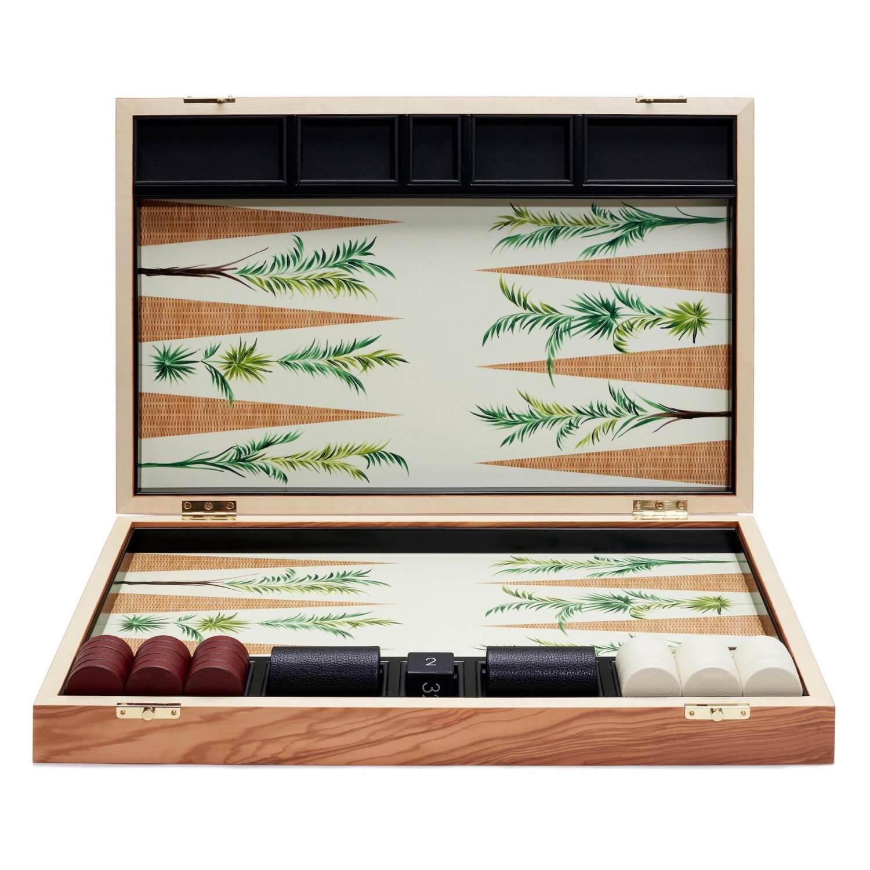 Alexandra Llewellyn Palm Backgammon Set upright