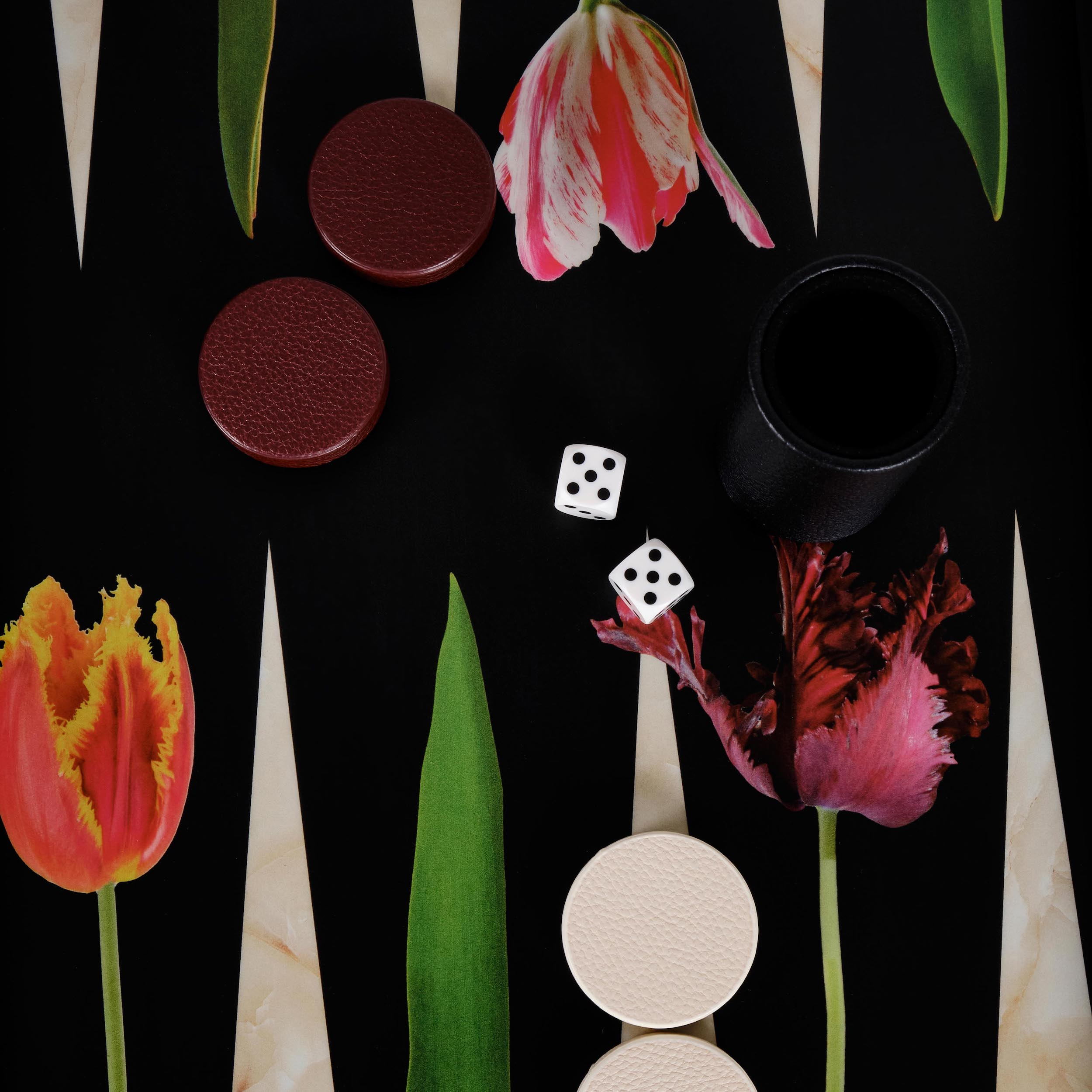 Alexandra Llewellyn Tulip Backgammon Set Detail