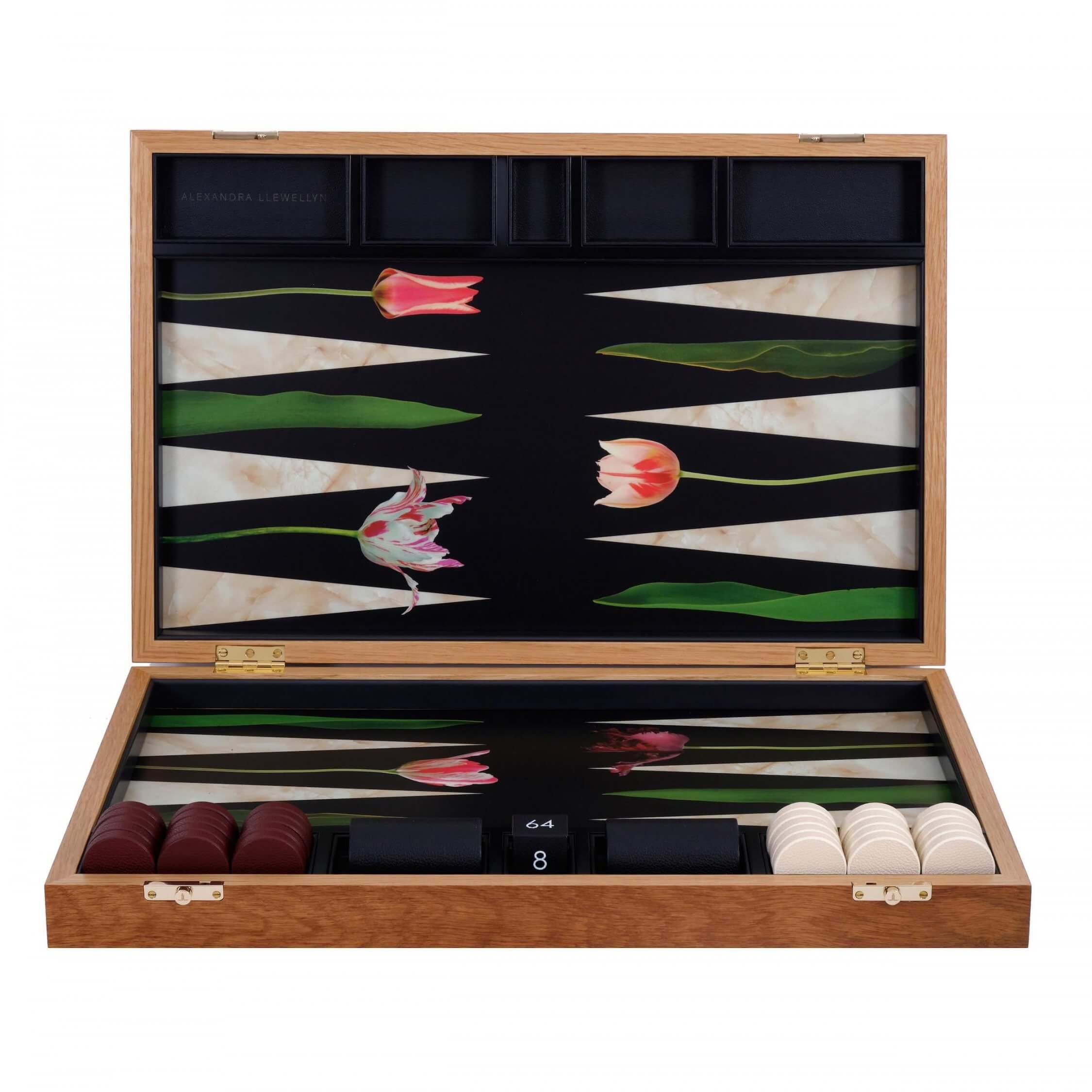Alexandra Llewellyn Tulip Backgammon Set upright