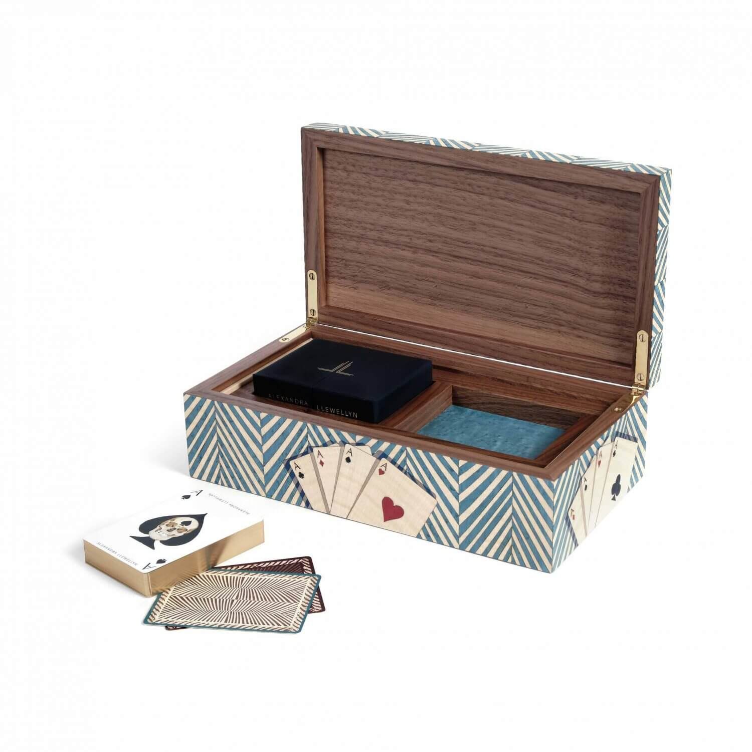 A turquoise marquetry double cards box