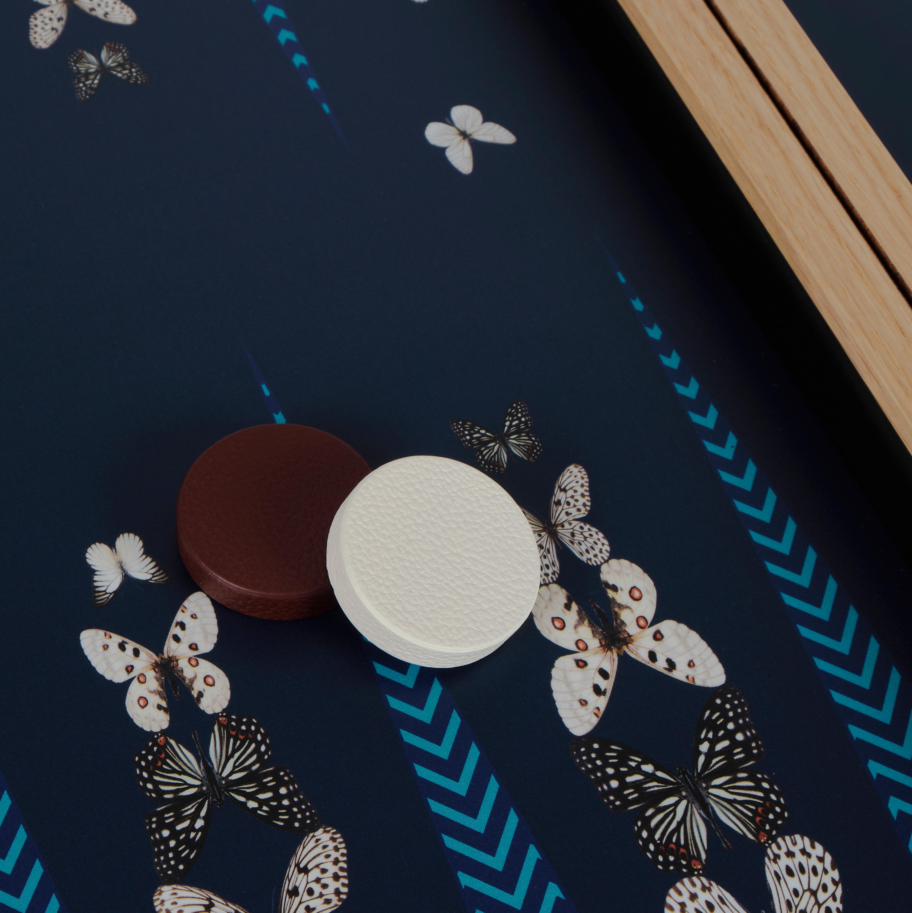Alexandra Llewellyn B&W Butterfly Backgammon Set Detail