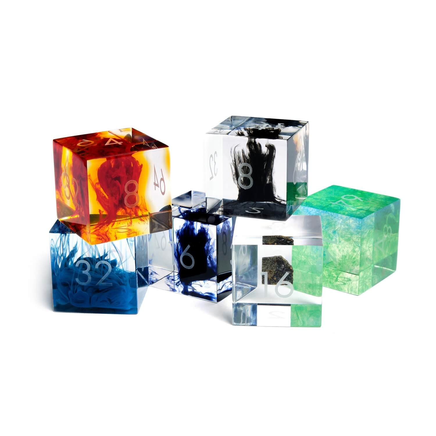 6 resin doubling cubes in different colours