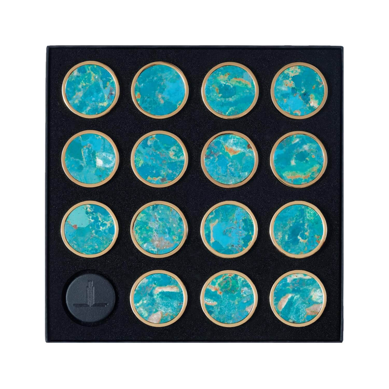 Real Turquoise Semi Precious Playing Pieces Alexandra Llewellyn Overhead