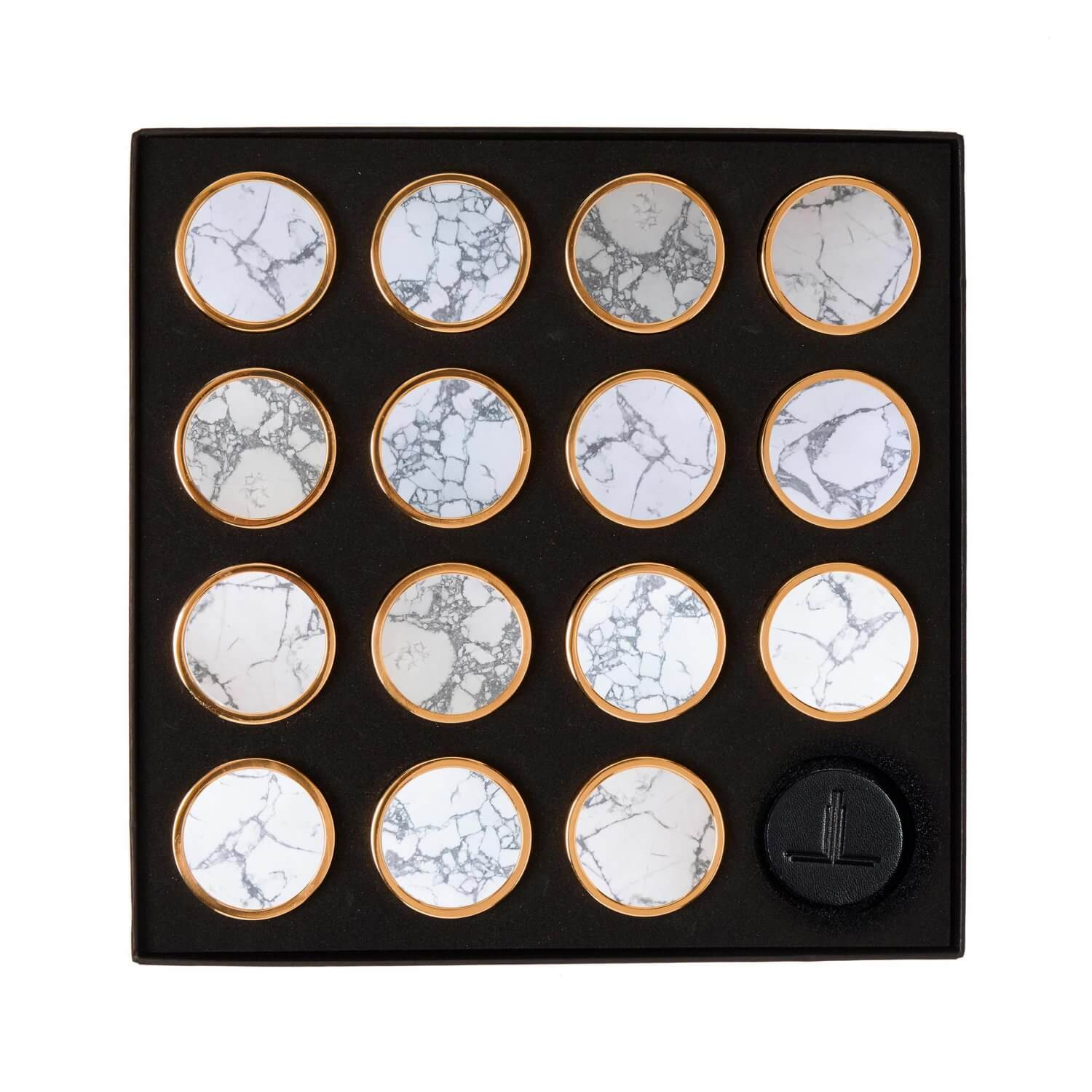 White Veined Marble Semi Precious Playing Pieces Alexandra Llewellyn Overhead