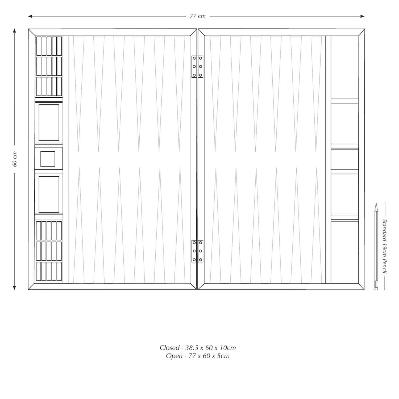 Board measure 3.85 x 60 x 10cm when closed. 77 x 60 x 5cm when Open