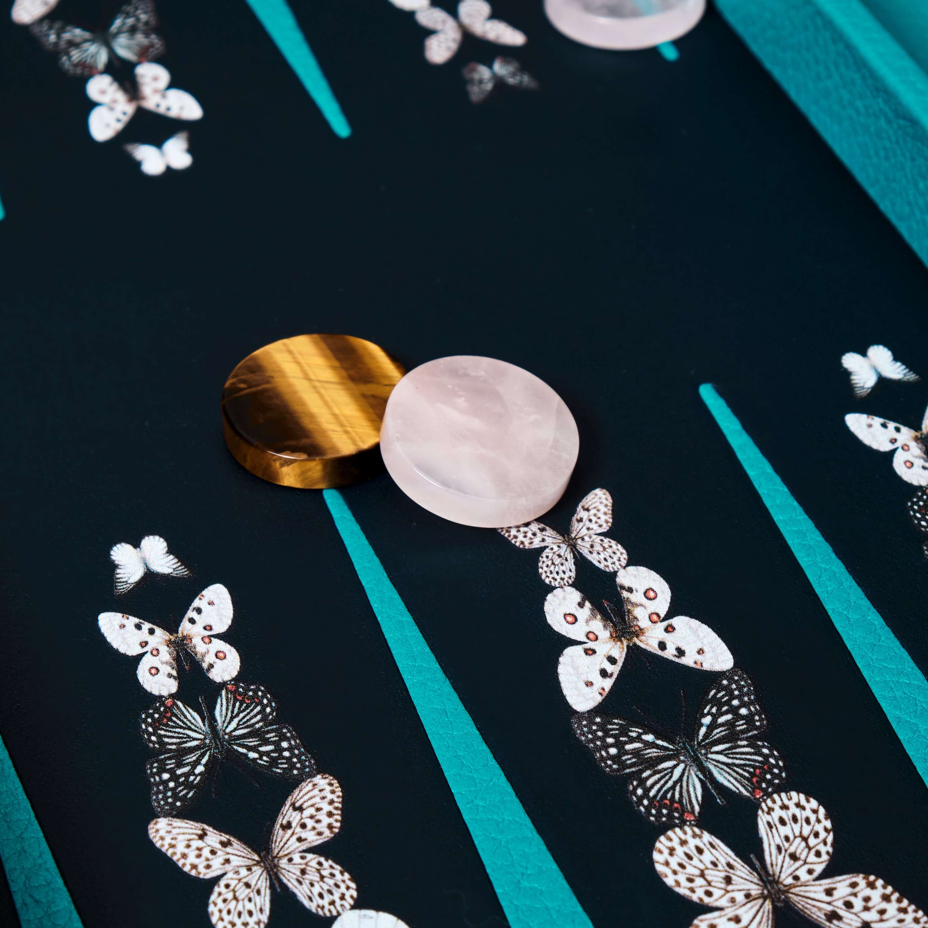 black and white butterfly travel backgammon set with rose quartz and tiger eye playing pieces
