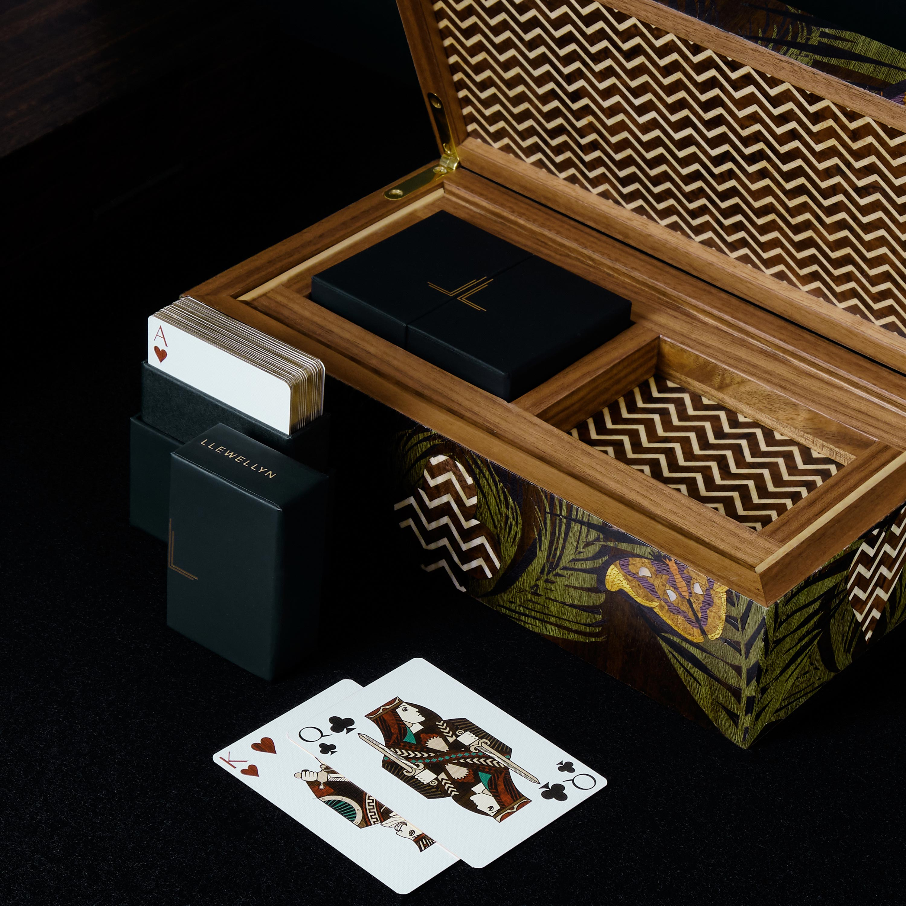 Jungle Playing Cards box lid open with two packs of playing cards